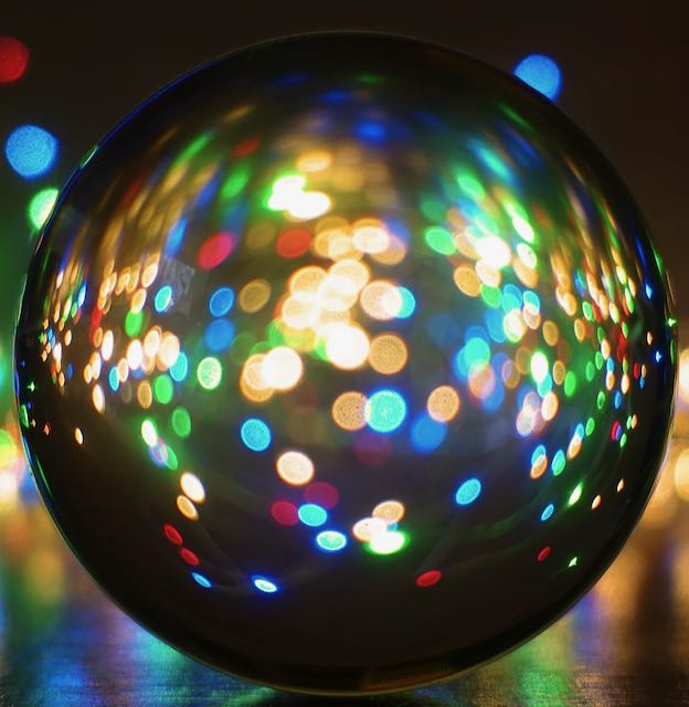 Reflective ball with dots of lights