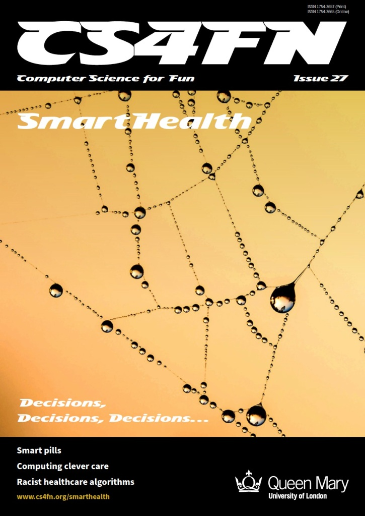Cover of cs4fn issue 27 on smart health - a spiders web covered in droplets of dew